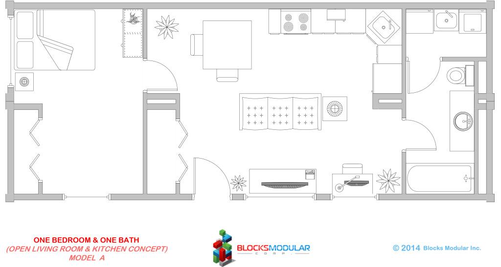 Module-1 bed-1 bath Model A