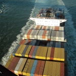 Shipping containers at sea