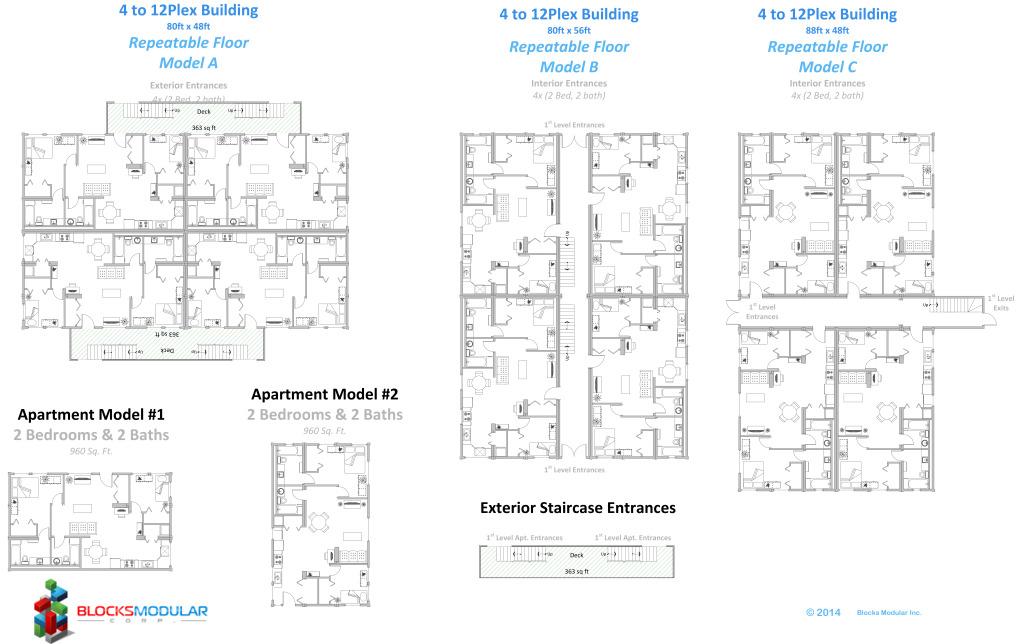 Multifamily-4 to 12plex Model A-B-C